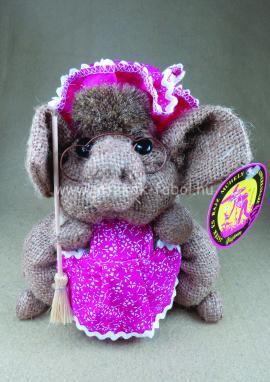 Zsák malac seprűvel, rózsaszín